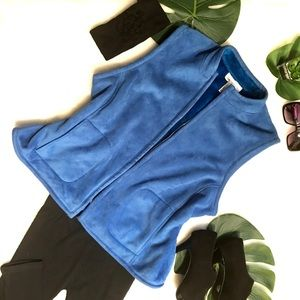 Evan Picone blue suede like fleece lined zip vest